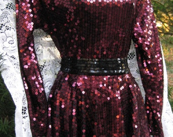 1980s formal dress, size 8 DARK CHERRY Red SEQUINED Burgundy Wine Red, New Wave dress by high fashion designer Oleg Cassini vintage Size 8
