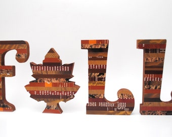 sale- RUSTIC FALL tabletop letters made with recycled magazines- brown, neutral, unique, name, alphabet, leaves, modern letter, wall hanging