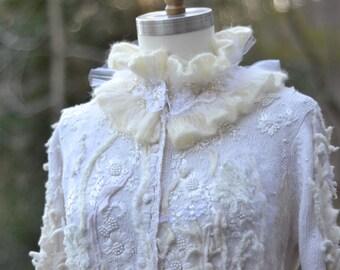 White long embroidered Wedding sweater COAT.  Fantasy boho couture clothing. Size XLarge. Ready to ship