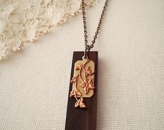 Floral Wood Pendant Necklace Art Nouveau Modern Mixed Metal Vintage Embellishments - The Copper Garden.