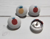 Pineapples Thumb Tacks / Push Pins - Fabric Covered Buttons - pineapple set of 4, 6, 8, or 10 ... office accessories