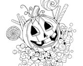 Halloween Trick or Treat Jackolantern Coloring Page Printable Instant Download