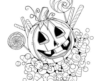 halloween trick or treat jackolantern coloring page printable instant download - Lollipop Coloring Pages Printable
