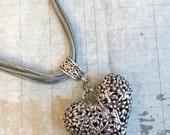 On Sale Heart Necklace, Large 3D Floral Heart, Grey Cord