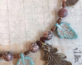 On Sale Leaf Necklace and Earring Set, Turquoise Blue Magnesite and Leopard Skin Jasper