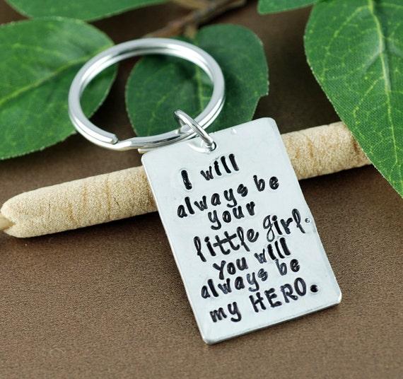 Daddy Little Girl Keychain | I will always Be your Little Girl Keychain | Father's Day Keychain | Daddy Keychains | Little Girl Hero