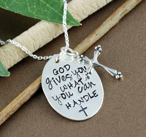 Inspirational Necklace  | Faith Cross Necklace | Motivational Necklace | Hand Stamped Necklace | Gift for Graduate | Cross Necklace