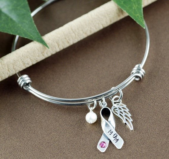 Breast Cancer Awareness Bracelet, Cuff Bracelet, Angel Wing Bracelet, Personalized Bracelets, Inspirational Jewelry, Breast Cancer Gift
