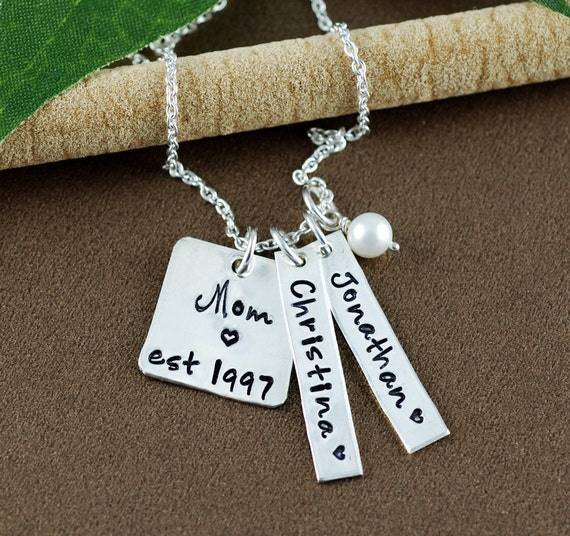 Hand Stamped Necklace, Mom Est. Necklace, Personalized Mom Necklace, Gift for Mom, Mother's Necklace, Name Tag Necklace, Mother's Day Gift