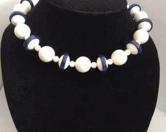 1960s vintage bead necklace Made in West Germany white and navy novelty plastic beads retro 60s Mad Men era