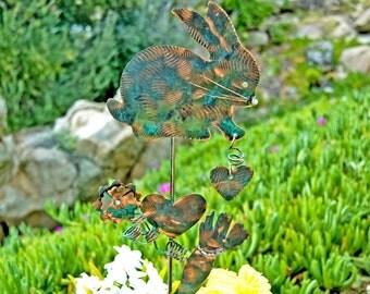 Bunny Rabbit Garden Stake  / Metal Garden Art / Copper Art / Yard Art  / Farm Animal / Garden Sculpture / Barnyard / Statue / Sign
