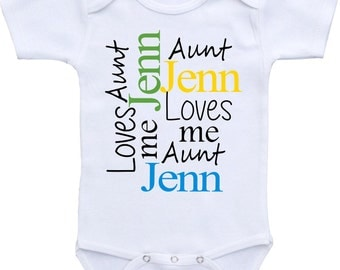 Personalized My Aunt or Uncle custom name Loves Me onesie ® Gerber Bodysuit Cute baby shower gift, Aunt shirt. I love my aunt, baby gifts