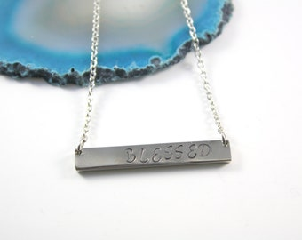 Blessed Necklace - Blessed Bar Necklace - Christian Necklace - Christian Jewelry - Faith Necklace - Faith Jewelry - Blessings - Blessed