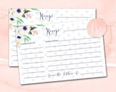 Bridal Shower Recipe Card Printable, Printable Recipe Cards, Bridal Shower Recipe Cards, Bridal Recipe Card, Blush Serenity Bridal Shower