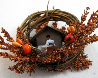 Bird and Rustic Birdhouse Christmas Ornament 405