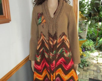 Wool  Coat Maxi Coat  Up-cycled Vintage Afghan Coat Hand-made Maxi Coat One of a Kind