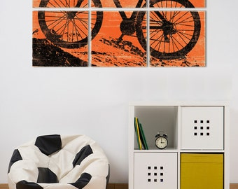 Mountain Bike Wall Art - Large Custom Made Bicycle Painting for Him