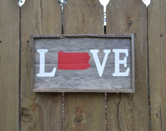 Pennsylvania State Love Wood Sign (Made to Order)