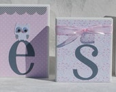 Baby Shower Personalized Name Blocks in Pink and Gray with Owls Flowers Lace . Elephant . Presley