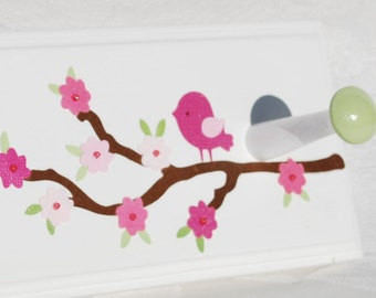 Girl's Personalized Coat Hooks . Cherry Blossom in Pink Green and Aqua . With Butterflies