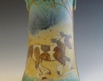 Cylinder Vase Gypsy Spotted Draft Horses