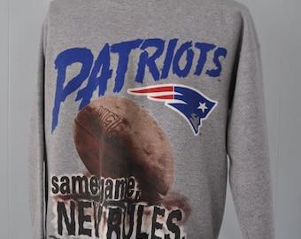 Vintage New England Patriots Sweatshirt 1994 Gray Red Blue MA Boston LARGE