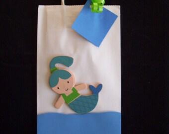 mermaid favor bags, birthday summer favor bags
