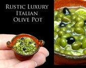 Rustic Olives, set in a Handmade pot - Artisan Handmade Miniature in 12th scale. From After Dark miniatures.