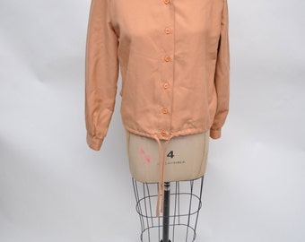 vintage jacket womens 1970s drawstring 70s campus casuals