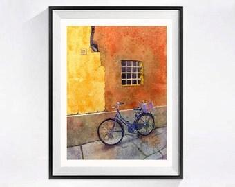 Orange print Window art Prints windows, wall art windows, Watercolor bike prints, Bicycle art prints bikes, Urban bicycle prints bike