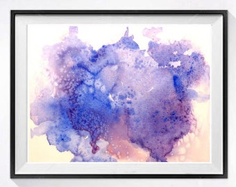 Blue Abstract Art Print Abstract watercolor painting Abstract blue painting Atmospheric mid century modern art Lyrical wall art AB