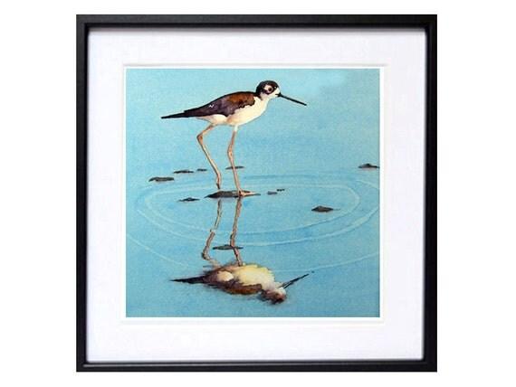 Bird Art PRINTs Shorebird watercolor painting, Nautical painting shorebird in art nature, Modern Family TV, Beach house art coastal bird 9