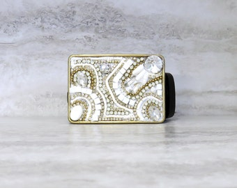 White Buckle with Silver or Gold Rhinestones - Womens Belt Buckle with Crystals & White Semi Precious Stones