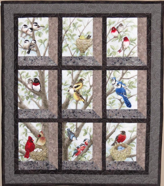Quilted And Pieced Wall Hanging Attic Window Birds In Tree