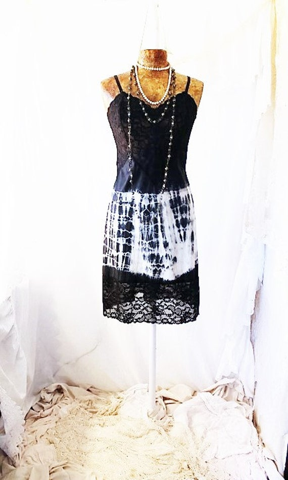 Small/Med Tie Dye dress/Ecru Rustic Wedding/Music festival/Tie Dye Sundress/black and white shibori/Summer Festival Wear/Free People/Fairy