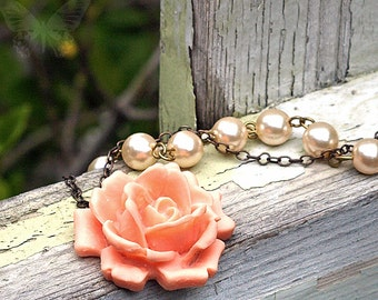 Peach Rose and Faux Pearl Necklace. Bohemian Gift. Hippie Chic Wedding. Wedding Belle Collection