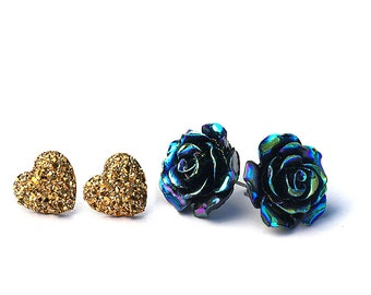 Oil Slick Black Rose and Gold Glitter Faux Druzy Stud Earrings - 2 Pair Set- Summer Solstice Collection