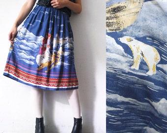 70s 80s novelty skirt. Nordic landscape and people print skirt. full skirt - small