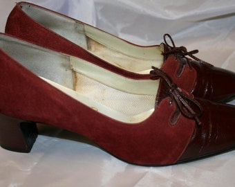 1960's Burgundy Platent and Suede Shoes size approx UK 5