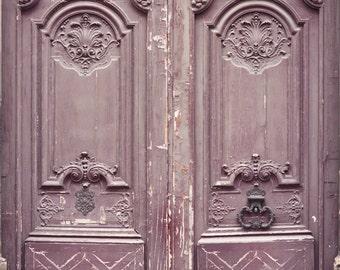 Paris Photography - Shabby Mauve Door, Architecture Photography, Travel Fine Art Photograph, French Home Decor, Large Wall Art