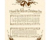 I Heard The Bells On Christmas Day- Custom Christian Home Decor- Christmas Carol Wall Art- Holiday Wall Art- VintageVerses Sheet Music Sepia