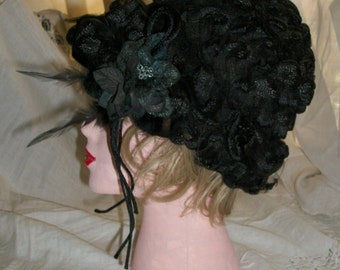 Antique 1930s Black Ribbon and Sheer Mesh Net Lacey Hat Cloche Velvet and Leather Rose