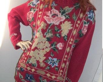 1980s Vintage Floral Karen Scott Cotton Ramie Antique Print Handknits Sweater Size M Pullover Crew Neck
