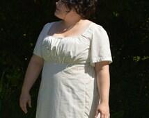 Jane Austen Regency Day Gown Dress in White Green Purple Plaid Cotton