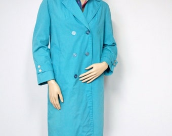 Vintage Trench Coat 1960's Blue Raincoat Turquoise Blue Women's Overcoat Size Small