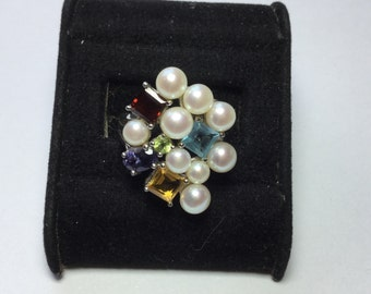 Ross Simons Sterling Silver Pearl Cluster RING // size 6