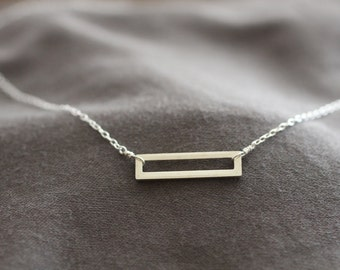simple silver necklace, sterling silver necklace, rectangle necklace, delicate silver necklace, dainty necklace, layering necklace, N38