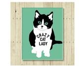 Crazy Cat Lady Magnet,  Black and White Cat, Cat Magnet, Cat Art, Kitten Magnet, Cat Lover Gift, Cat Lady Gift, Cat Designs, Cat Decor
