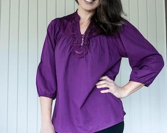 Cotton A line tunic, blouse, ruffles in neck, Medium size