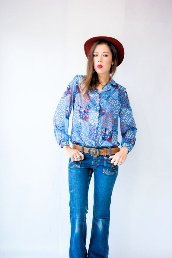 PATCHWORK Shirt 70's Vintage Cornflower Blue and Red Bandana Print Blouse